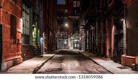 Dark street in New York at night
