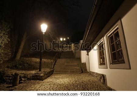 Dark street in Prague, Czech Republic