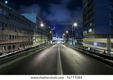 Dark street in Tel Aviv, Israel - stock photo
