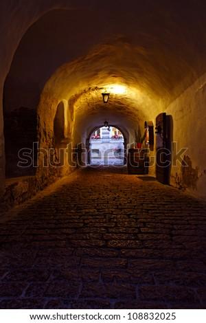 dark street in the old European city