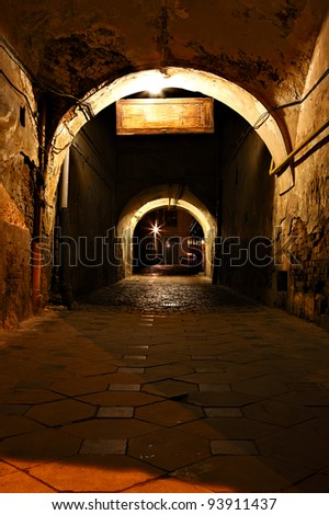 Dark street in the old European city