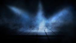 Dark street, night smog and smoke. Dark background of the night city, ray of light in the dark. Gloomy dark background.