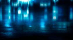 Dark street reflection on wet asphalt, fog, night city. Rays of neon light in the dark, neon light, smoke. Empty background scene. Abstract dark background.