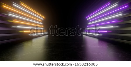 Dark studio with bright yellow, violet and white neon lights. Empty black space for text. Blurry reflections on the floor. Abstract black background. 3D rendering image.