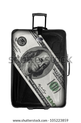 dark suitcase with one hundred dollars drawing isolated over white background