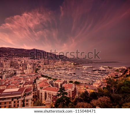 dark sunset clouds at Monte Carlo port, Monaco