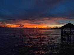 Dark sunset in Dato Beach, its beautifull color of dark