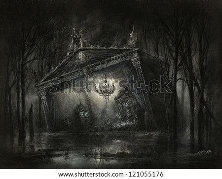 Dark surreal scene