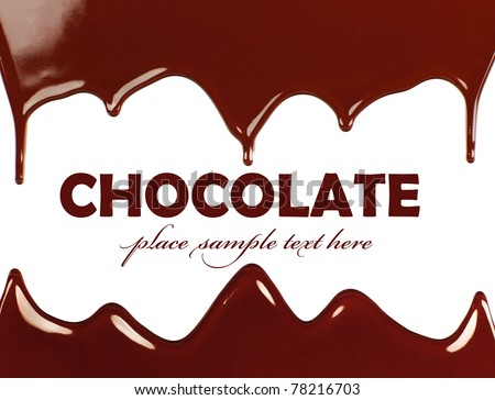 Dark sweet tasty chocolate frame, liquid dripping, brown background with text space