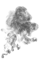dark textured smoke powder fluffy puffs explosion dust isolated on white background as brush