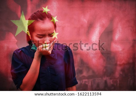 Dark tone double expose of girl in cold fever illness feeling wearing mask protect infected ill with Chinese flag expose. disease photo concept in world situation