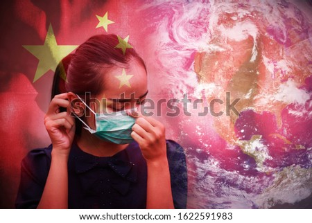 Dark tone double expose of girl in cold fever illness feeling wearing mask protect infected ill with Chinese flag expose. disease  concept in world situation. Elements of this image furnished by NASA