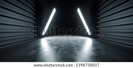 Dark Triangle Lights Futuristic Modern Garage Showroom Tunnel Corridor Concrete Metal Grunge Reflective Glossy Empty Space White Glow Showcase Stage Underground Hallway Entrance 3D Rendering