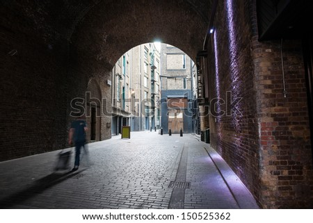 Dark tunnel in historic part of London's Southwark area