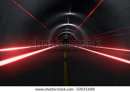 Dark tunnel with light trails middle view