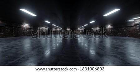 Dark Underground Brick Cement Asphalt Parking Showroom Car Garage Empty Glowing Corridor Lights Realistic Urban Showcase Background 3D Rendering Illustration