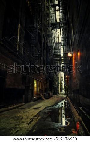 Dark Urban Alley #519176650