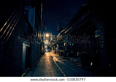 Dark Urban Alley at Night #510830797