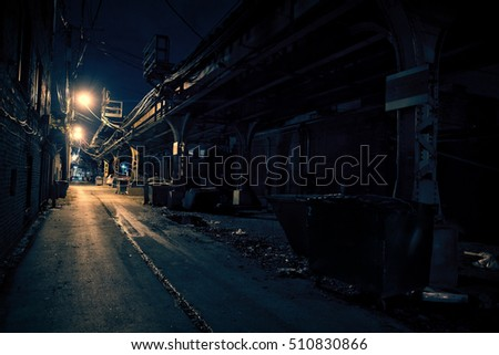 Dark Urban Alley at Night #510830866