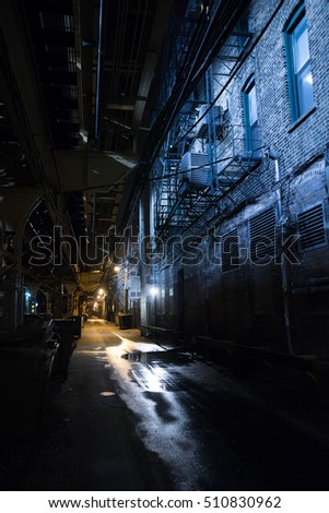 Dark Urban Alley at Night #510830962