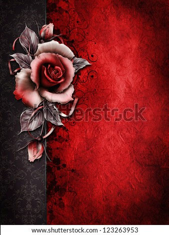 Dark Valentine background with a red rose and ribbons