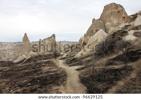 Dark valley of Anatolia. Cappadocia, Turkey.