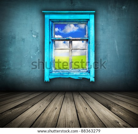 dark vintage blue room with wooden floor and window with field and sky above it