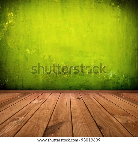 dark vintage green room or interior with wooden floor and artistic shadows added