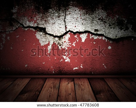 dark vintage interior with red cracked wall - stock photo