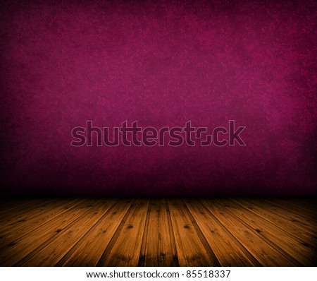 dark vintage pink room with wooden floor and artistic shadows added