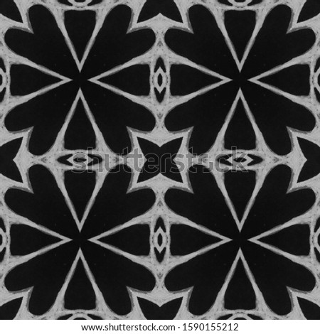 Dark Vintage Repeat Pattern Tile. Ornamental Geometry. Ornamental Geometry. Black Silver Embroidery print Asian Ornament. Royal Kaleidoscope Effect. Floral Pattern. Floral Elements
