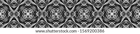 Dark Vintage Repeat Pattern Tile. Ornate Tile Background Ethnic Ornament Print. Black Silver Dressing element Antique Element Hand Drawn. Kaleidoscope Effect. Floral Elements Floral Design.