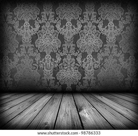 dark vintage room with wooden floor and artistic shadows added