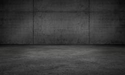 Dark Wall Concrete Garage Room Modern Background Scene with Floor