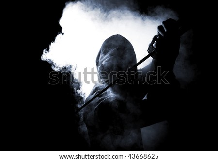 dark warrior in the smoke