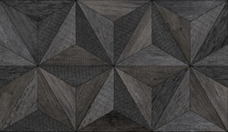 Dark weathered wood texture. Old seamless wooden wall with triangle pattern.