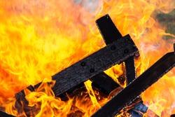 Dark Wood Engulfed in Flames