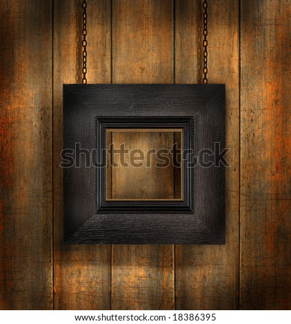 Dark wood frame against distress wood background