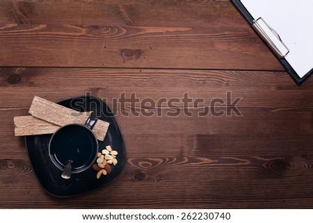 dark wood. still life. morning. business. the work. healthy food. breakfast.