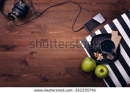 dark wood. still life. morning. business. the work. healthy food. breakfast. music.