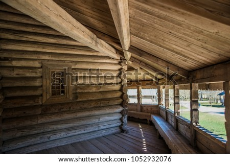 Dark Wooden House Interior With Window Veranda Inside Of Old Wood Russian