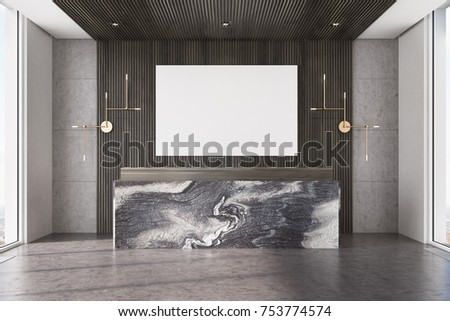 Dark wooden office interior with a concrete floor and a marble reception counter. There is a horizontal poster on the wall. 3d rendering mock up