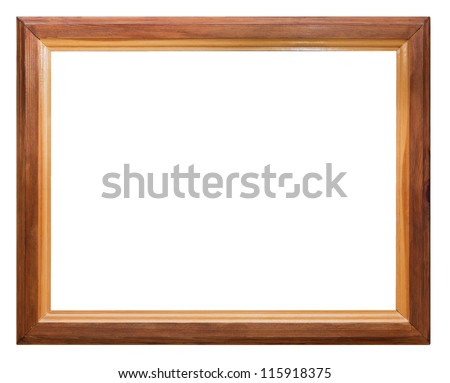 dark wooden picture frame isolated on white background