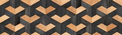 Dark wooden planks texture. Weathered seamless wooden wall with geometric pattern.
