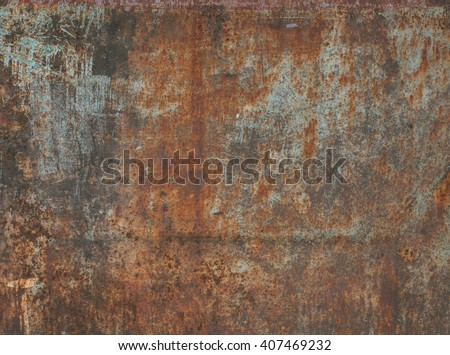 Dark worn rusty metal texture background.  #407469232