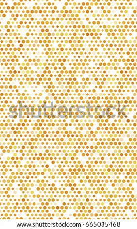 Dark Yellow pattern with colored spheres. Geometric sample of repeating circles on white background in halftone style. #665035468