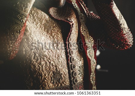 Darkened picture of handsome groom dressed in rich ethnic Indian style for a wedding