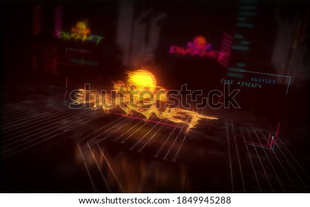 Darknet futuristic cyberpunk style illustration. Modern abstract 3d hologram intro with glitch effect. Cyber crime, darkweb, piracy, illegal network, hacking, theft and security breach concept. Сток-фото ©