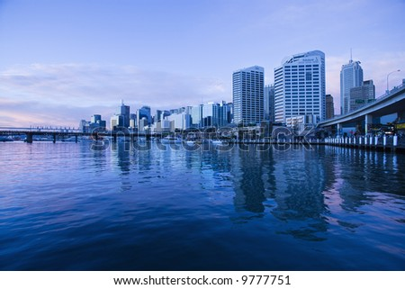 Darling Harbour and skyscrapers in Sydney, Australia.