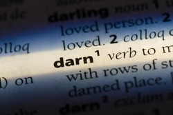 darn word in a dictionary. darn concept
